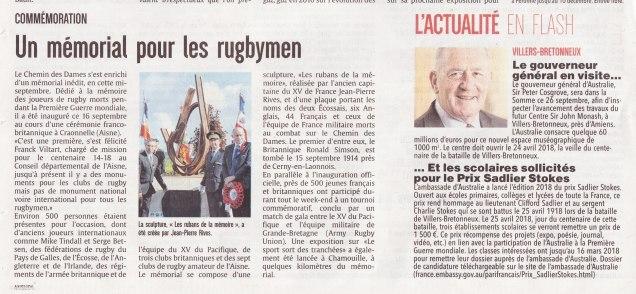17-09-19 S38 Mémorial rugby et Gouverneur d'Australie....(L'Aisne Nlle.)