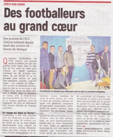 17-09-25 S39 Crécy-Sur-Serre. Footballeurs au grand coeur....(L'Aisne Nlle.)