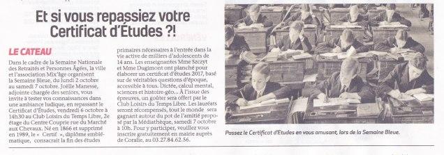 17-09-28 S39 Le Cateau. Certificat d'études....(La Thiérache)