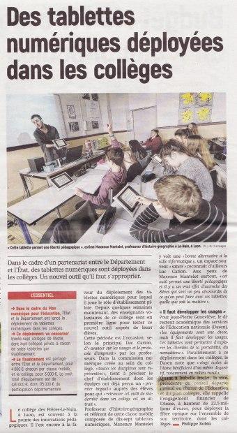 17-11-19 S47 Education. Des tablettes dans les collèges ....(L'Aisne Nlle.du 25)