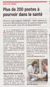17-11-28 S48 Plus de 200 postes dans la santé ....(L'Aisne Nlle.)