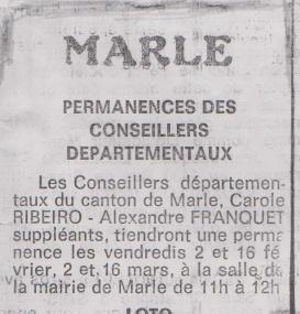 18-01-21 S 04 Permanences à Marle....(Le Démocrate du 26 )