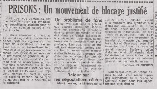 18-01-26 S 04 Prisons. Mouvement de blocage....(Le Démocrate )