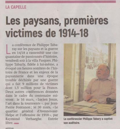 18-03-12 S 11 La Capelle. Les paysans de 1914-18.....(L'Aisne Nlle)