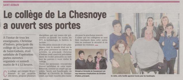 18-03-19 S 12 Le collège de La Chesnoye a ouvert ses portes.....(L'Aisne Nlle)