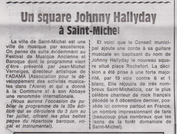 18-03-23 S 12 St Michel. Un square Johnny Hallyday.....(Le Démocrate)