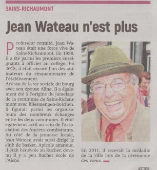 18-07-29 S 31 Sains-Richt. Jean Wateau n'est plus .....(L'Aisne Nlle du 9-08 )