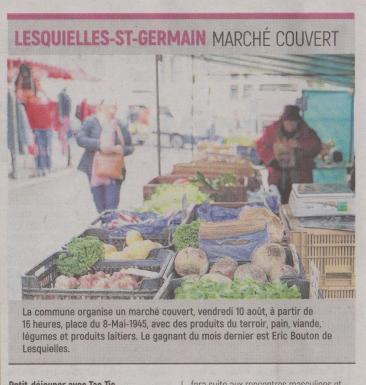 18-08-04 S 31 Lesquielles-St-Germain. Marché couvert.....(L'Aisne Nlle )