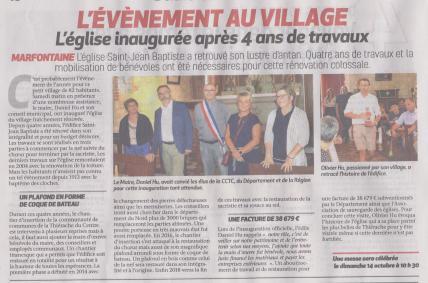 18-08-19 S 34 Marfontaine. L'église inaugurée....(La Thiérache du 23)