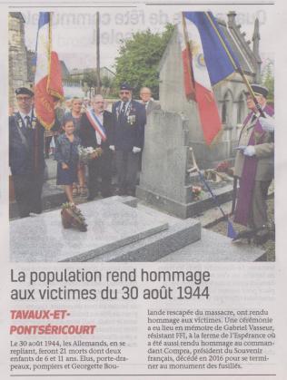 18-09-03 S 36 Tavaux-et-Pontséricourt. Hommage aux victimmes du 30-08-1944.....(La Thiérache du 06)