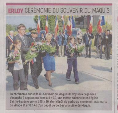 18-09-04 S 36 Erloy. Souvenir du Maquis.....(L'Aisne Nlle )