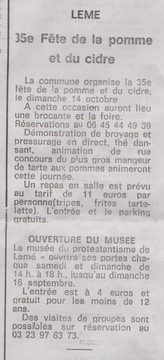 18-09-15 S 37 Lemé. 35e Fête de la pomme....(Le Démocrate du 14-09