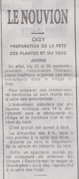 18-09-15 S 37 Oisy. Fête des plantes....(Le Démocrate du 31-08)