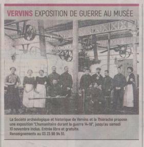 18-09-22 S 38 Vervins. Exposition de guerre au musée....(L'Aisne Nlle.)