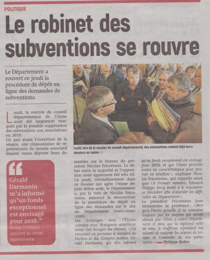 18-09-23 S 39 Le Département a rouvert les demandes de subventions....(L'Aisne Nlle du 29.)