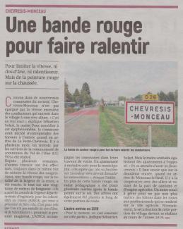 18-09-24 S 39 Chevresis-Monçeau. Limiter la vitesse....(L'Aisne Nlle.)