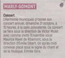 18-09-25 S 39 Marly-Gomont. Concert de l'harmonie....(L'Aisne Nlle.)