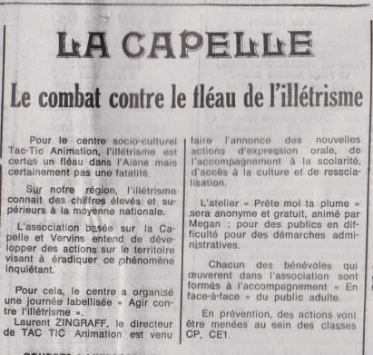 18-09-26 S 39 La Capelle. Combat contre l'illétrisme.....(Le Démocrate du 28)